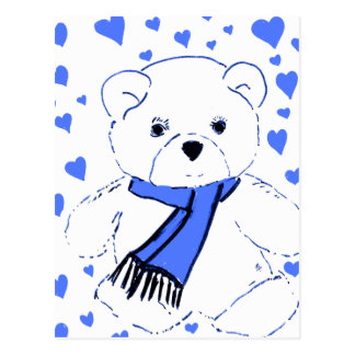 White Teddy Bear with Bright Blue Hearts Postcard