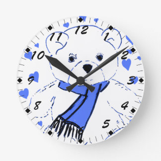 White Teddy Bear with Bright Blue Hearts Round Clock