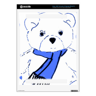 White Teddy Bear with Bright Blue Hearts Skin For The Xbox 360