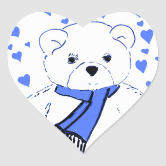 White Teddy Bear with Bright Blue Hearts Heart Stickers