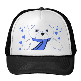 White Teddy Bear with Bright Blue Hearts Trucker Hat