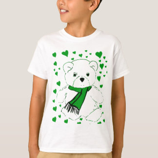 White Teddy Bear with Bright Green Hearts T-Shirt