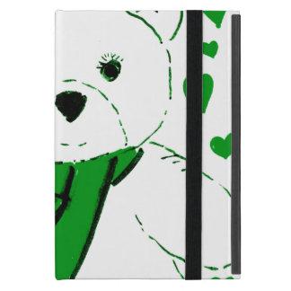 White Teddy Bear with Bright Green Heats Cases For iPad Mini