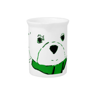 White Teddy Bear with Bright Green Heats Drink Pitcher