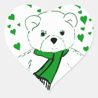 White Teddy Bear with Bright Green Heats Heart Sticker