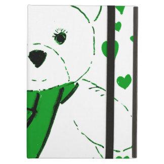 White Teddy Bear with Bright Green Heats iPad Air Covers