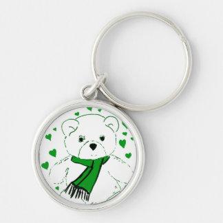 White Teddy Bear with Bright Green Heats Keychain