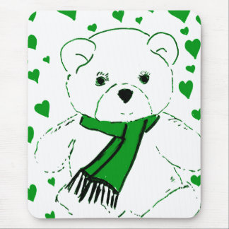 White Teddy Bear with Bright Green Heats Mouse Pad