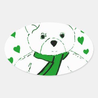 White Teddy Bear with Bright Green Heats Oval Sticker