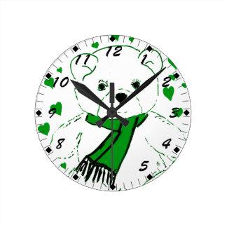White Teddy Bear with Bright Green Heats Round Clock