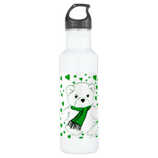White Teddy Bear with Bright Green Heats Stainless Steel Water Bottle