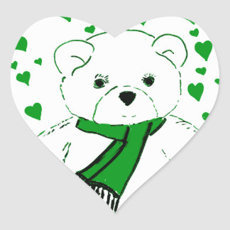 White Teddy Bear with Bright Green Heats Sticker