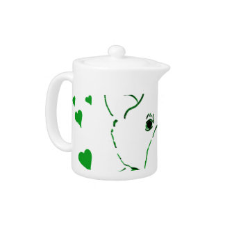 White Teddy Bear with Bright Green Heats Teapot