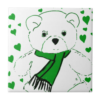 White Teddy Bear with Bright Green Heats Tile