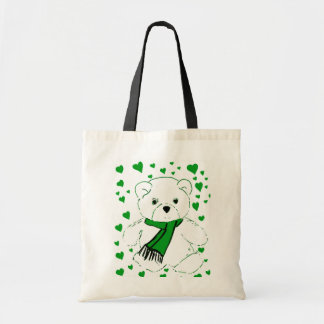 White Teddy Bear with Bright Green Heats Tote Bag