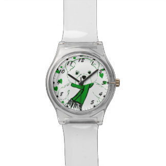 White Teddy Bear with Bright Green Heats Wristwatch