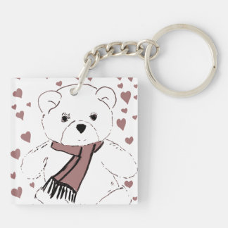 White Teddy Bear with Cranberry Colored Hearts Keychain