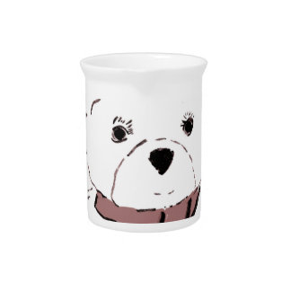 White Teddy Bear with Cranberry Red Hearts Beverage Pitcher
