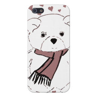 White Teddy Bear with Cranberry Red Hearts Case For iPhone SE/5/5s