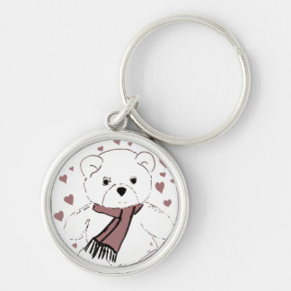White Teddy Bear with Cranberry Red Hearts Keychain