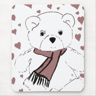 White Teddy Bear with Cranberry Red Hearts Mouse Pad