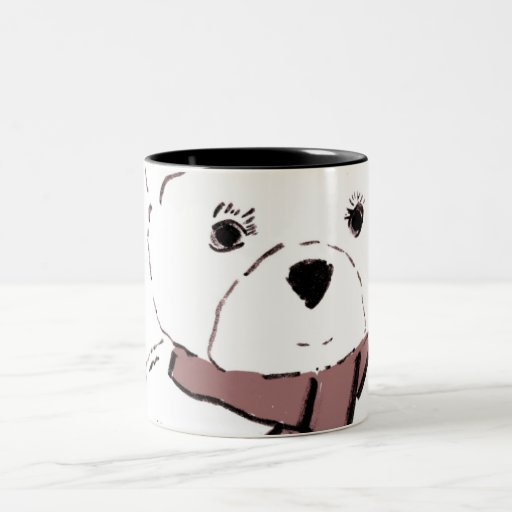 White Teddy Bear with Cranberry Red Hearts Mugs