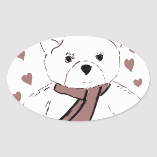 White Teddy Bear with Cranberry Red Hearts Oval Sticker