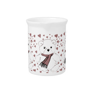 White Teddy Bear with Cranberry Red Hearts Pitcher