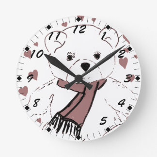 White Teddy Bear with Cranberry Red Hearts Round Clock