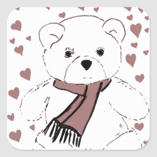 White Teddy Bear with Cranberry Red Hearts Stickers