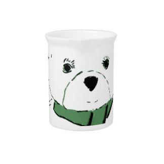 White Teddy Bear with Dark Green Hearts Beverage Pitcher