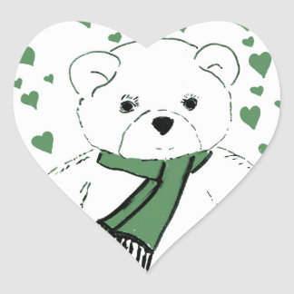 White Teddy Bear with Dark Green Hearts Heart Sticker