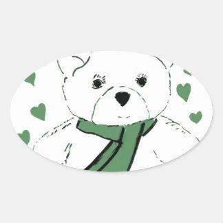 White Teddy Bear with Dark Green Hearts Oval Sticker