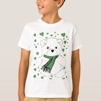 White Teddy Bear with Dark Green Hearts T-Shirt
