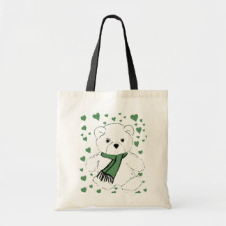 White Teddy Bear with Dark Green Hearts Tote Bag