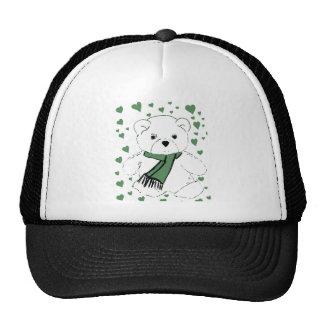 White Teddy Bear with Dark Green Hearts Trucker Hat