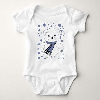 White Teddy Bear with Dusky Blue Hearts Baby Bodysuit