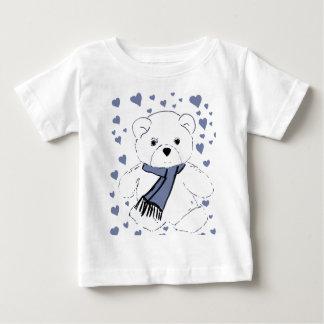 White Teddy Bear with Dusky Blue Hearts Baby T-Shirt