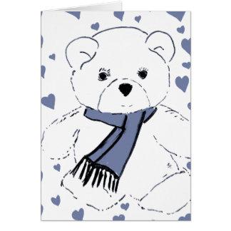 White Teddy Bear with Dusky Blue Hearts Card