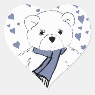 White Teddy Bear with Dusky Blue Hearts Heart Sticker