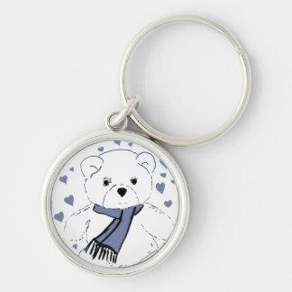 White Teddy Bear with Dusky Blue Hearts Keychain
