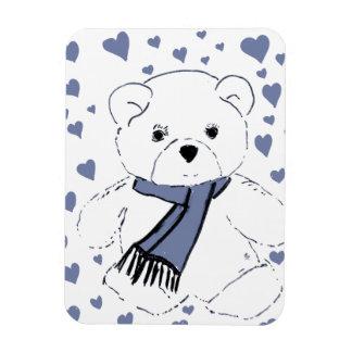 White Teddy Bear with Dusky Blue Hearts Magnet