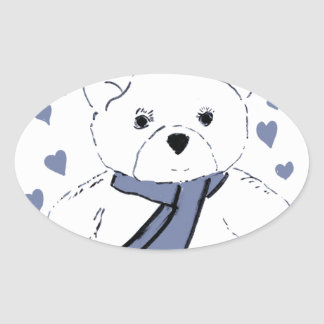 White Teddy Bear with Dusky Blue Hearts Oval Sticker