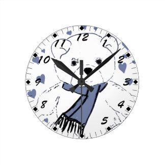 White Teddy Bear with Dusky Blue Hearts Round Clock