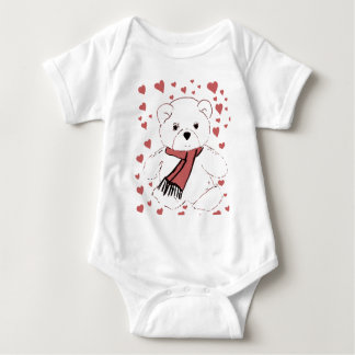 White Teddy Bear with Dusky Red Hearts Baby Bodysuit