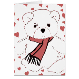 White Teddy Bear with Dusky Red Hearts Cards