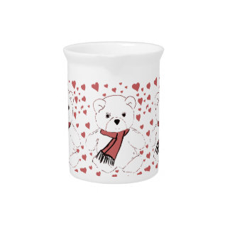 White Teddy Bear with Dusky Red Hearts Drink Pitcher