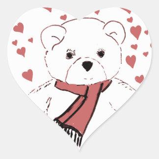 White Teddy Bear with Dusky Red Hearts Heart Sticker