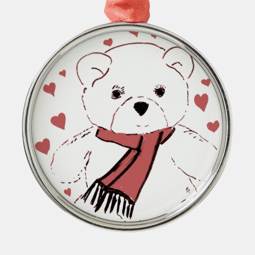 White Teddy Bear with Dusky Red Hearts Christmas Tree Ornament