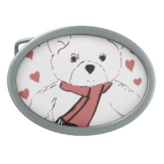 White Teddy Bear with Dusky Red Hearts Oval Belt Buckle